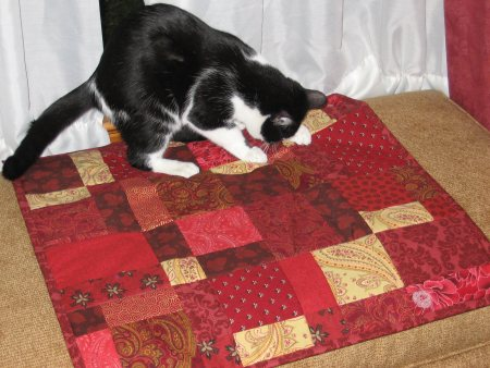 Panda Bear on his new quilt
